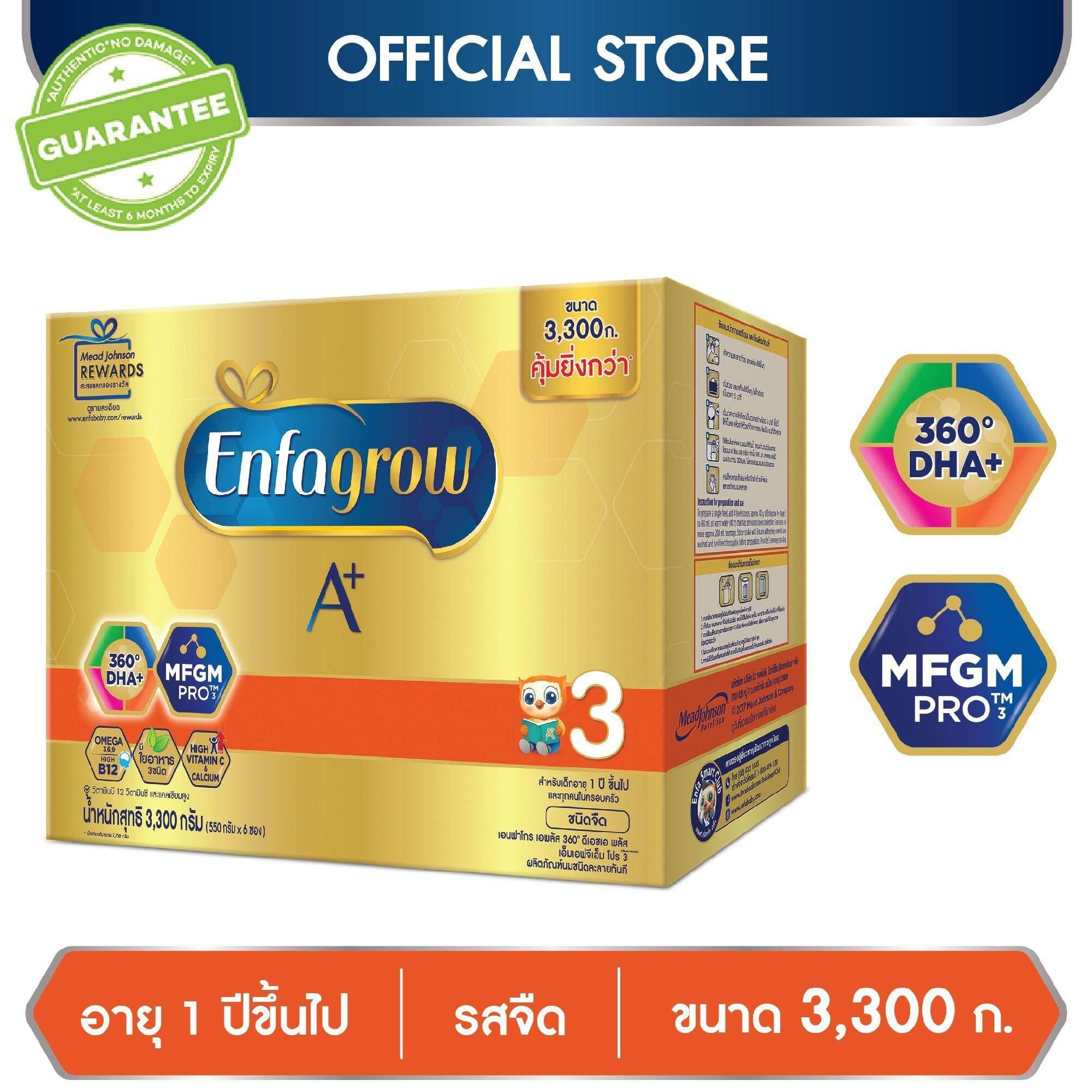 เอนฟาโกร เอพลัส สูตร 3 รสจืด นมผง สำหรับ เด็ก 3300 กรัม By Lazada Retail Enfagrow.