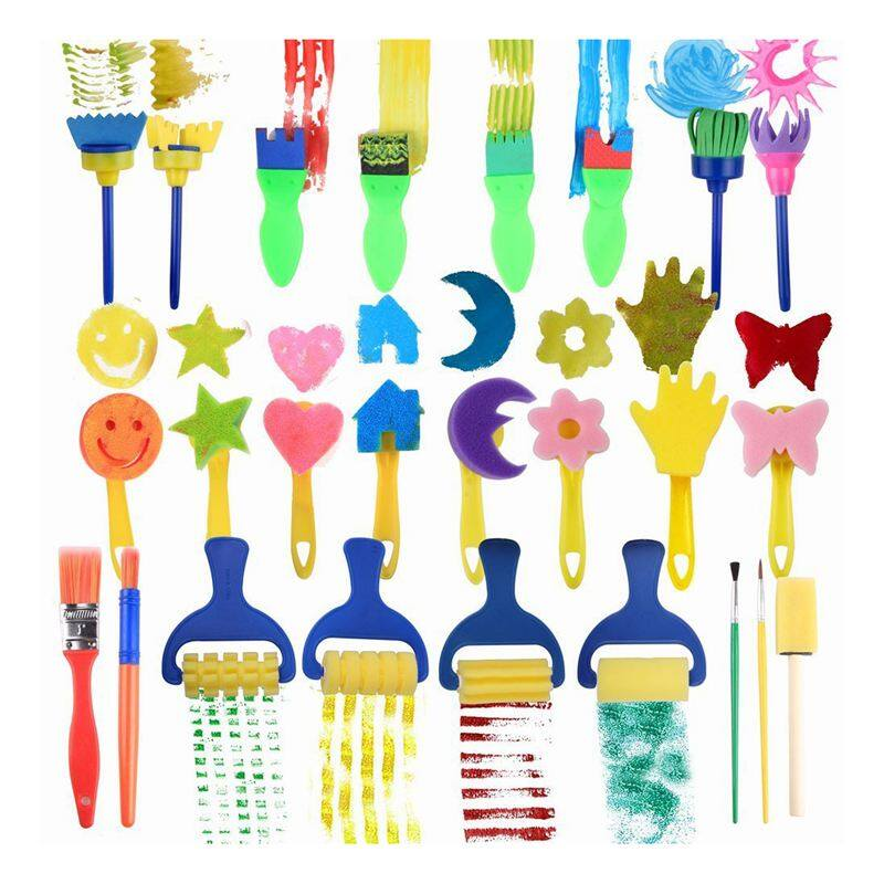 25 Pieces Kids Sponge Painting Brushes for Early Learning Mini Flower Sponge Brushes Drawing tools