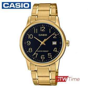 ส่งฟรี !! Casio Standard นาฬิกาข้อมือสุภาพบุรุษ สายแสตนเลส รุ่น MTP-V002G-1BUDF - สีทอง/หน้าดำ