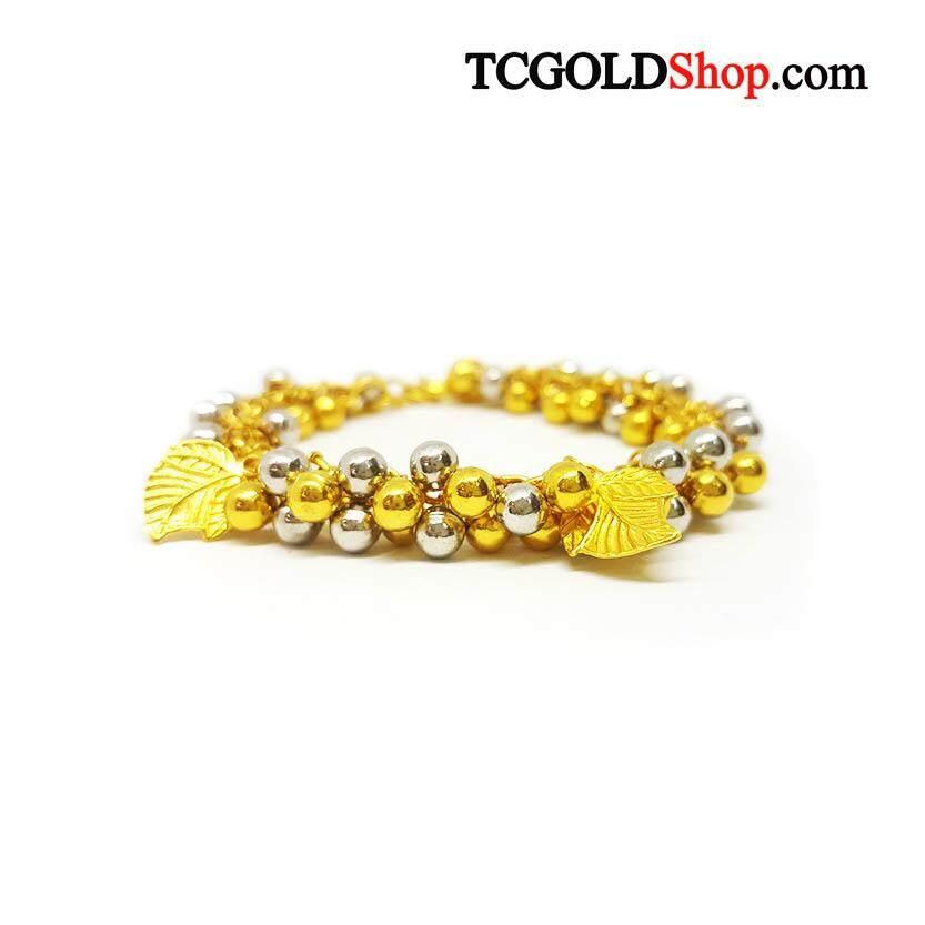 สร้อยข้อมือทองคำแท้ 96.5% นน.2 บาท ลายห้อยพวง 2 สี By Tc Gold Shop.