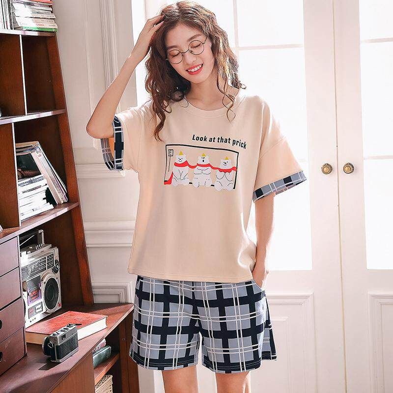 661382d20fe35 Women Summer Cutton Soft Homewear Short Sleeve Lovely Pattern Soft Cotton  Home Suit