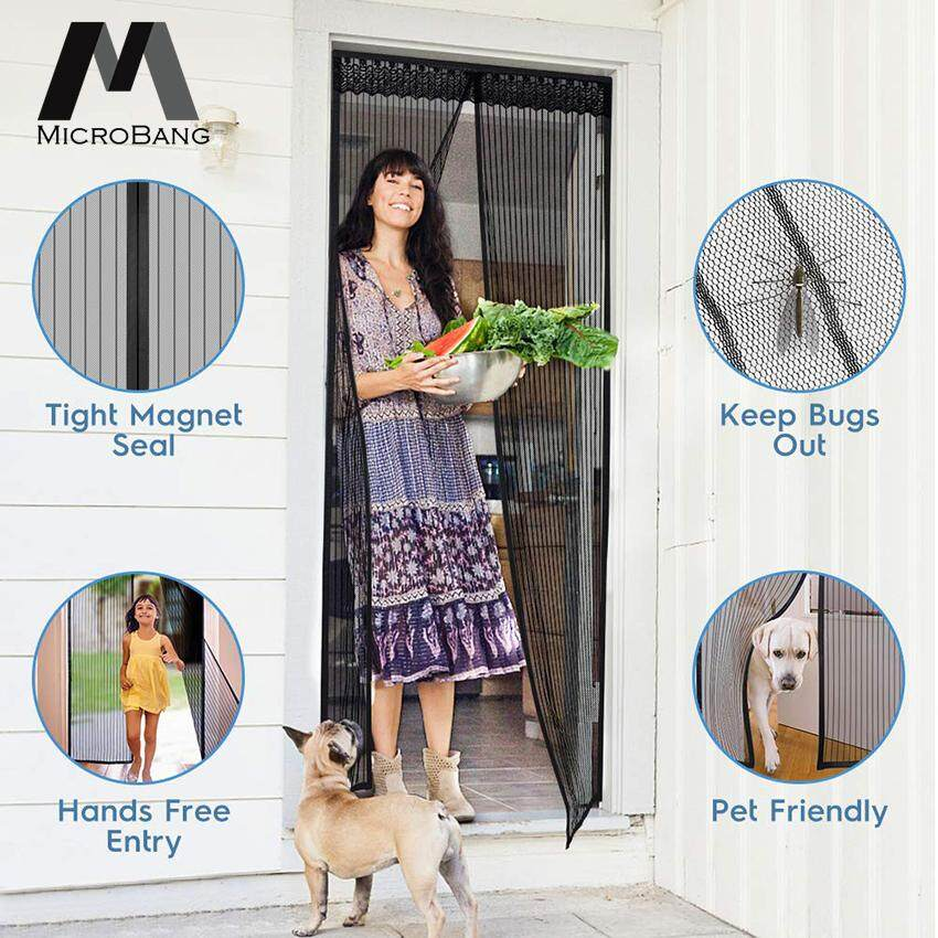 "MicroBang Magnetic Screen Door with Heavy Duty Mesh Curtain Full Frame Velcro Mosquito Door Curtain Hand Free Close Open Automatically Bugs Off Pets Friendly Fit Door (90 x 210cm/35 x 83"")"