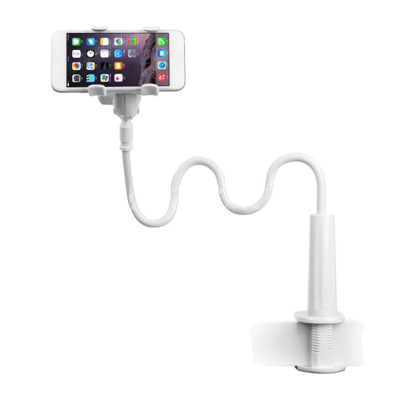 Happy Shopping First Phone Holder ขาจับมือถือ ที่หนีบสมาร์โฟน แท่นวางไอโฟน แบบหนีบ สีขาว.