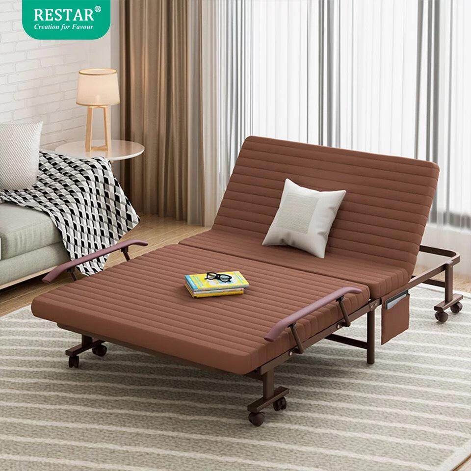 Restar เตียงนอนพับได้ รุ่น Richmond Bed ขนาด 100 Cm. (ฟรีหมอนและผ้าห่มขนแกะ) By Sivili.