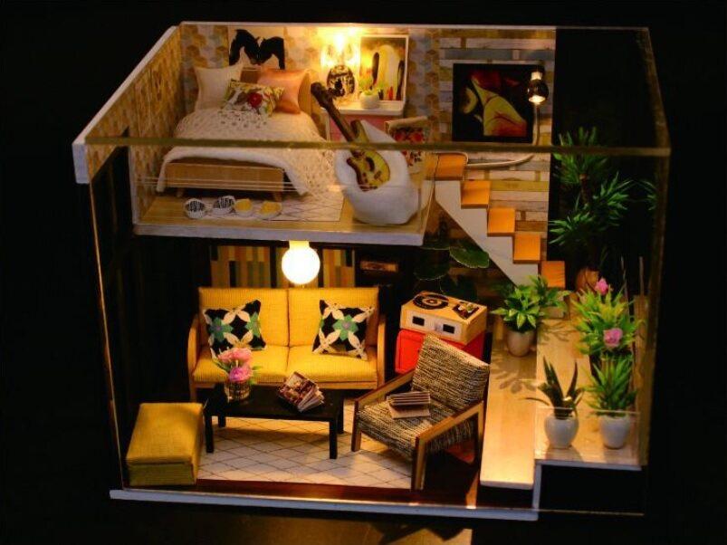 ++เลือกแบบด้านใน++ บ้านตุ๊กตา Diy (ประกอบเอง) พร้อมฝาครอบกันฝุ่นและเครื่องมือ Loft Apartment ⭐️⭐️⭐️.