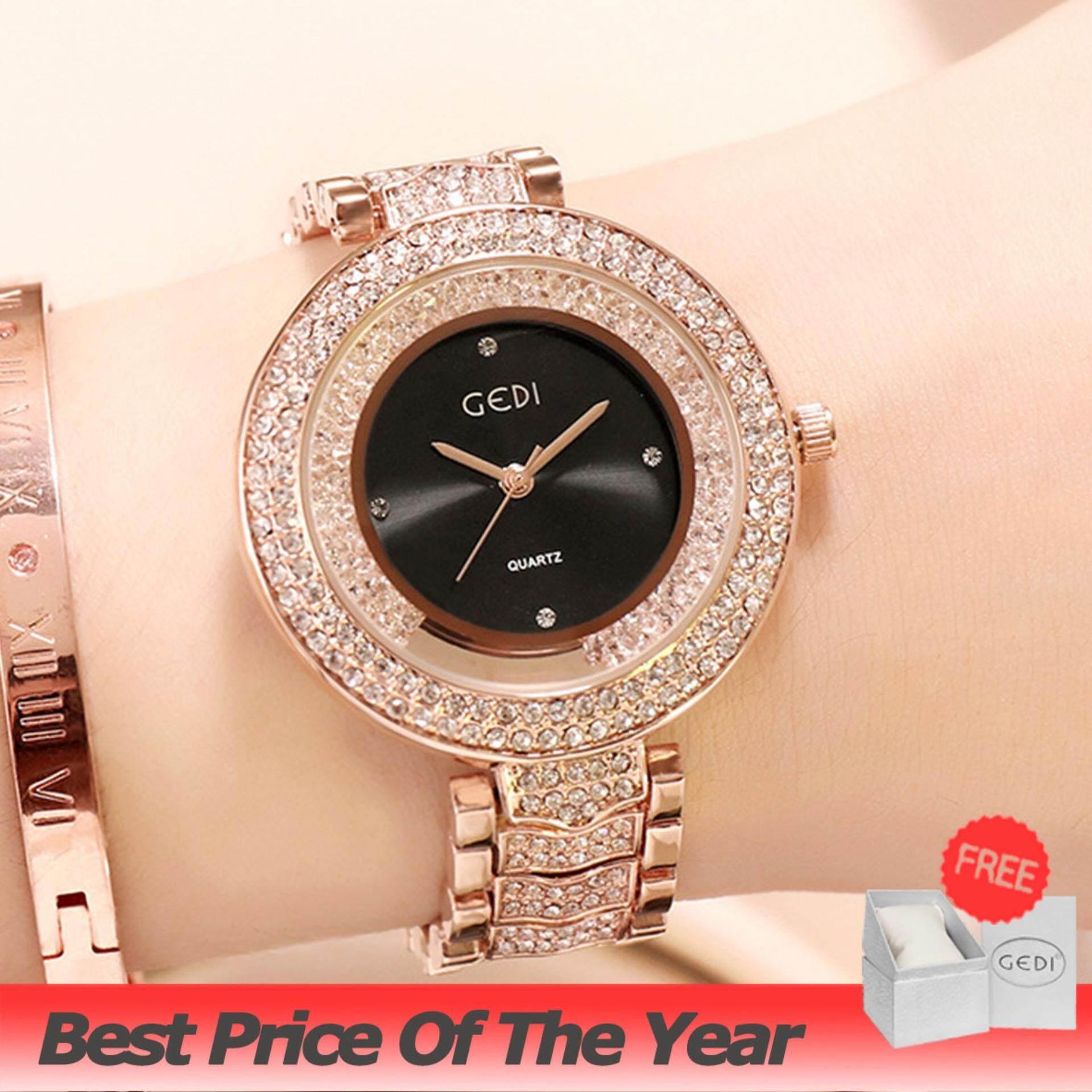 นาฬิกาข้อมือ Gedi รุ่น 3072 Women Fashion Watches ของแท้ แถมกล่อง นาฬิกาแฟชั่น พร้อมส่ง (มีการชำระเงินเก็บเงินปลายทาง) Casual Bussiness Watch นาฬิกาข้อมือผู้หญิง จีดี้ ล้อมเพชร.