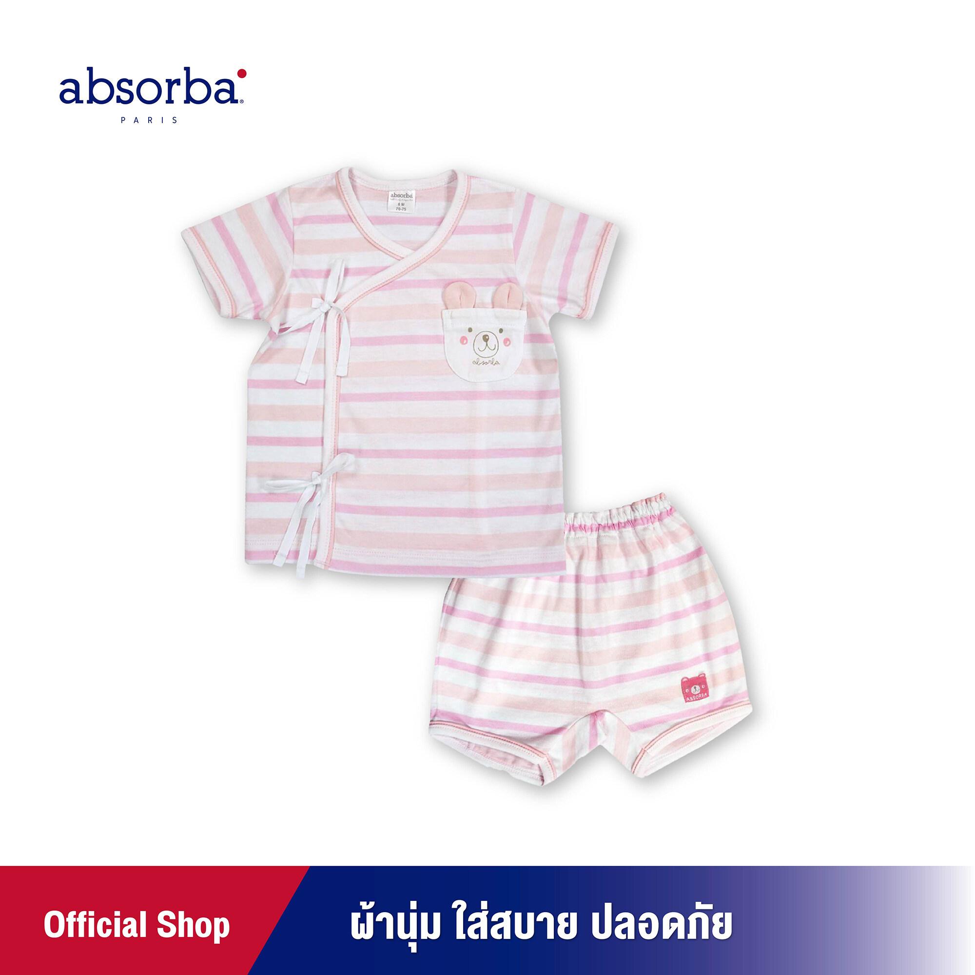 ซื้อที่ไหน absorba (แอ๊บซอร์บา) ชุดเสื้อป้ายเด็ก หรือ ชุดเสื้อผูกหน้าเด็ก แขนสั้น ลายริ้วสีชมพู สำหรับเด็กอายุ 6 เดือน - 12 เดือน - R1R2003PI ชุดเด็กผู้หญิง