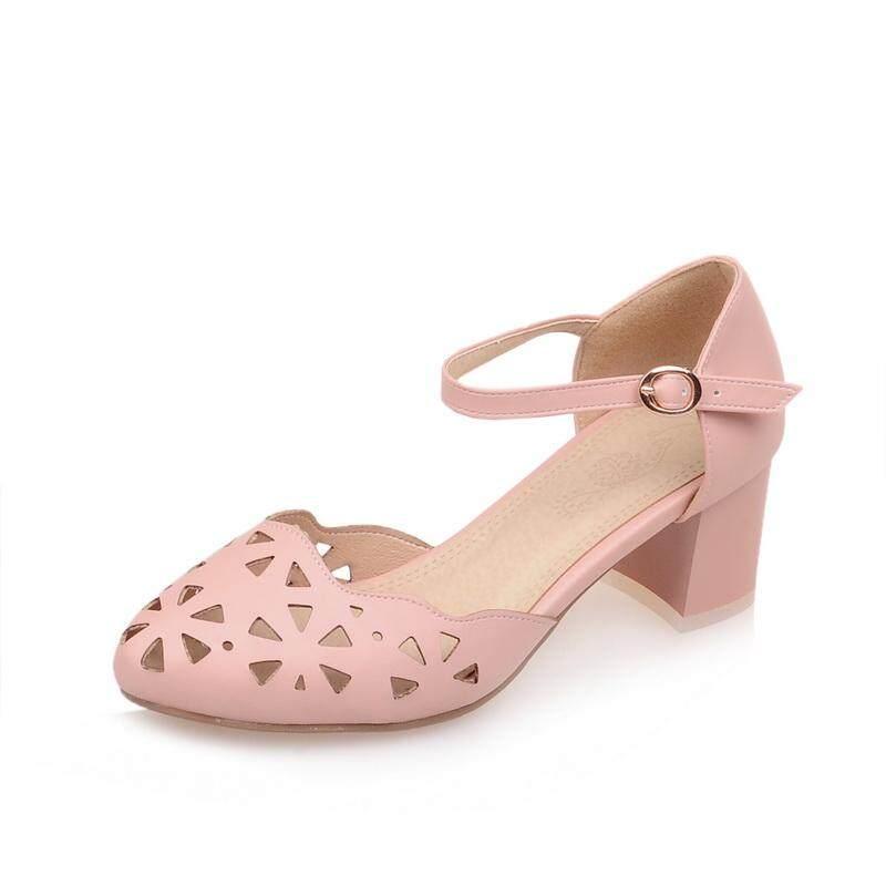 3612bad7acc Summer Chunky Heel Semi-high Heeled Closed-toe Sandals women High-heeled  Shoes