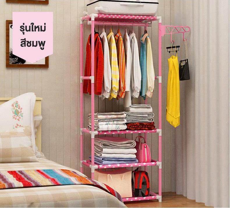 ราวตากผ้า ราวแขวนเสื้อ พร้อมชั้นวางของ วางเสื้อผ้า 2 ชั้น รองรับน้ำหนักได้ 80 กิโลกรัม พร้อมที่แขวนเสริม หมุนได้ 360 องศา By Anya Store.
