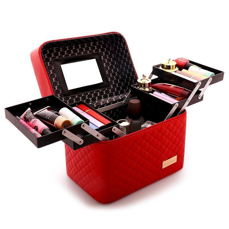 กระเป๋าถือ กระเเป๋าใส่เครื่องสำอางค์ กระเป๋าเอนกประสงค์ ที่เก็บเครื่องสำอางค์ กระเป๋าทรงกล่อง ดีไซน์สุดสวย 4 ถาด ใช้งานสะดวกสบาย Cosmetic bag