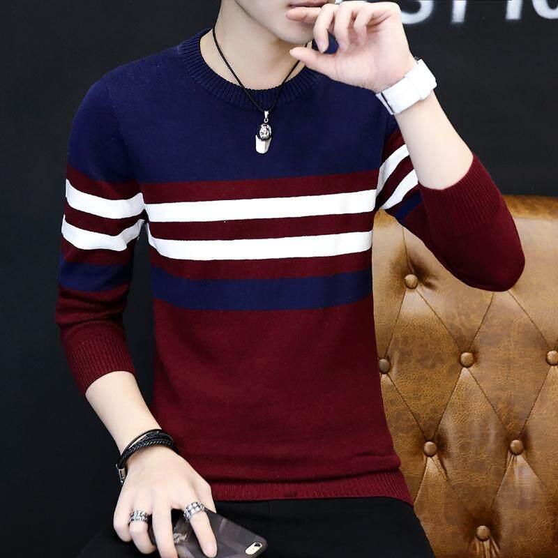 เสื้อไหมพรมกันหนาวผู้ชาย คอกลม ลายขวาง สไตล์เกาหลี By Taobao Collection.