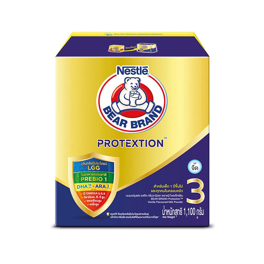 แนะนำ BEAR BRAND ตราหมี นมผงสำหรับเด็ก ช่วงวัยที่ 3 โพรเท็กซ์ชัน รสจืด กลิ่นวานิลลา 1100 กรัม