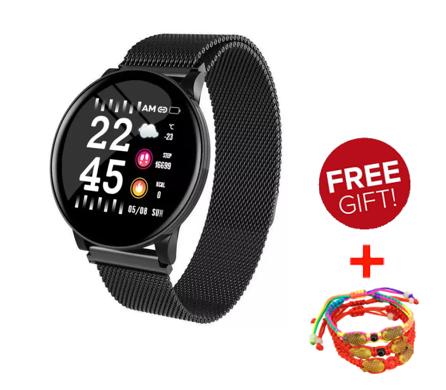 Smartwatch W8 สร้อยข้อมือสมาร์ทรอบใหม่หน้าจอมิลานอัตราการเต้นหัวใจและความดันโลหิตมัลติฟังก์ชั่ผู้ชายและผู้หญิงกีฬาสร้อยข้อมือ Ip67 กันน้ำ Iphone / Huawei / Oppo / Xiaomi บังคับ.