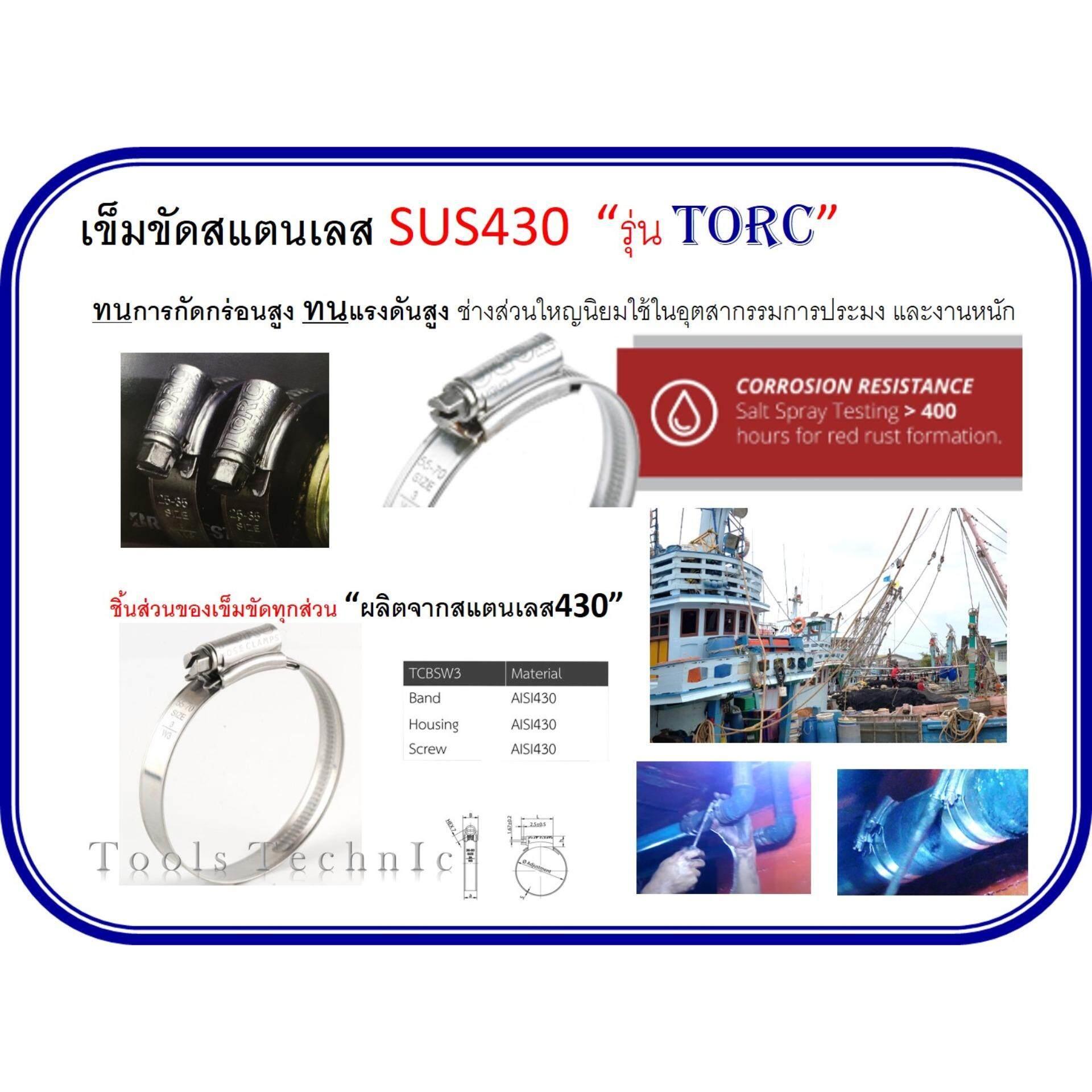(x5)เข็มขัดรัดท่อ ออบิท รุ่นทอร์ค สแตนเลส W3 เกรด430 35-45mm. (1m) By Tools Technic.