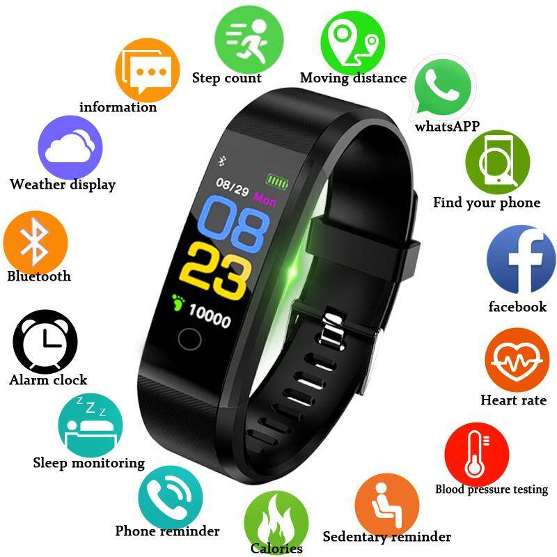 PLUS Color Screen Smart Bracelet Sports Pedometer Watch Fitness Running Walking Tracker Heart Rate Pedometer Smart Band