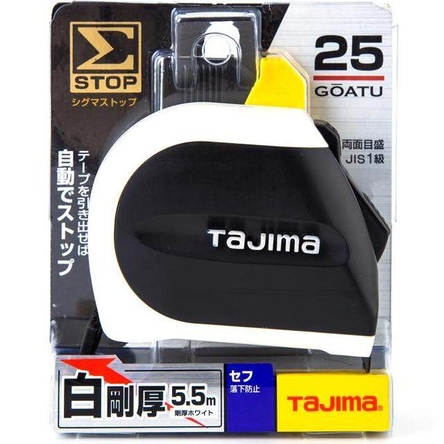TAJIMA ตลับเมตรสายโลหะ ปลายหมุดมีแม่เหล็ก รุ่น Zigma Stop รุ่น SFSSM2555 ยาว 5.5 เมตร