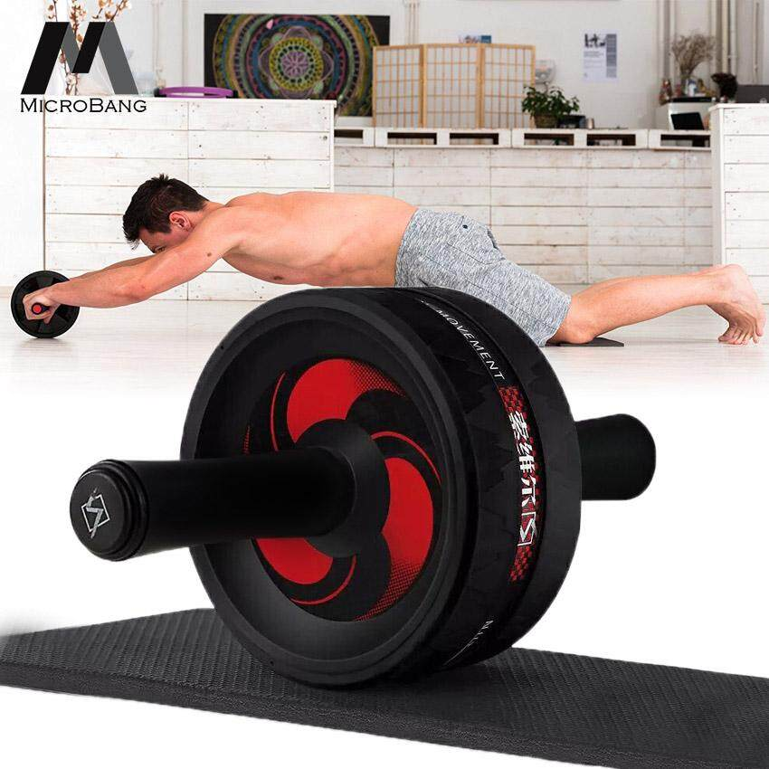 Microbang Ab Roller Wheel Big Exercise And Fitness Wheel For Core Strength Training And Abdominal Workout With Easy Grip Handles With A Anti-Slip Knee Mat.