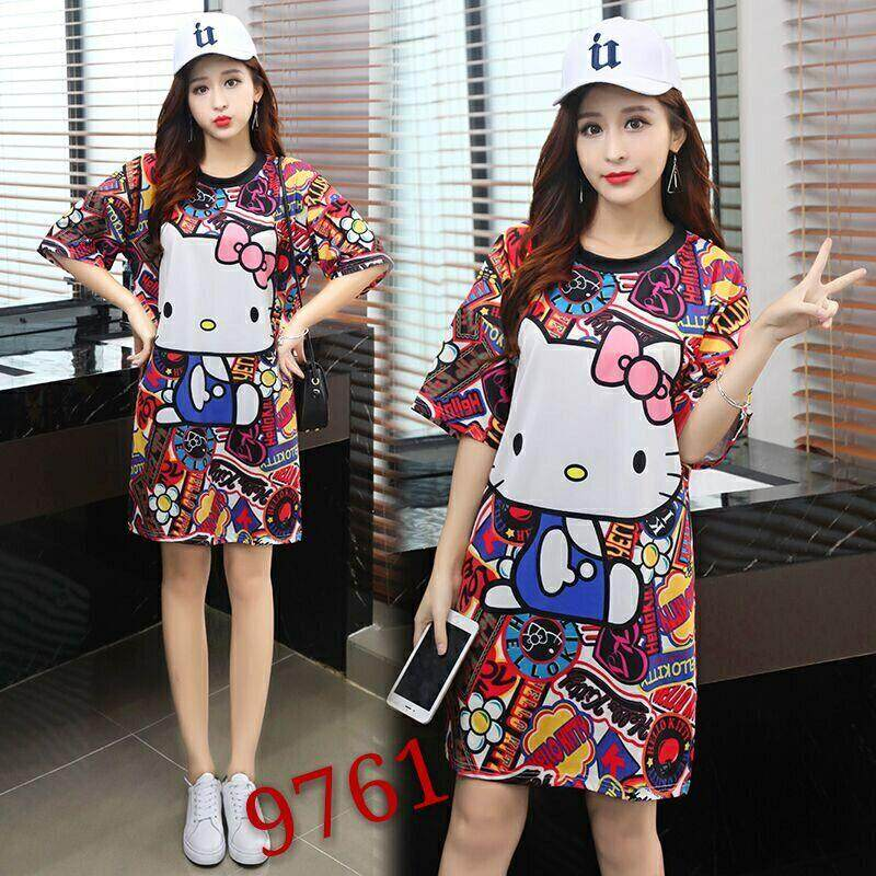 438b07c48528 2019 Summer New Style Korean Style Loose And Plus-sized Slimming Cartoon  Digital Printing Mid