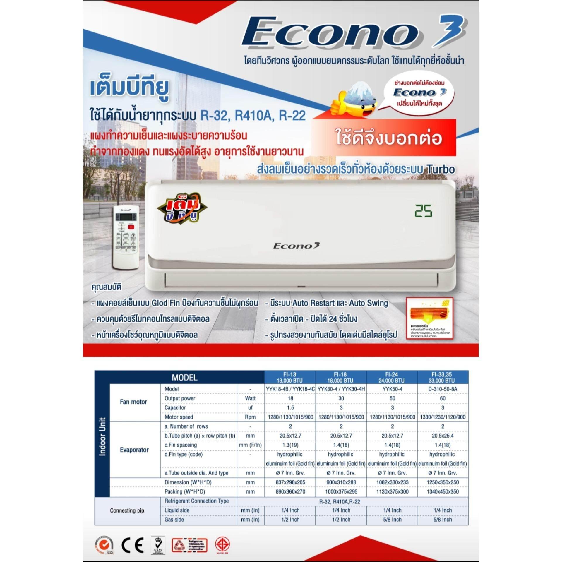 Fan Coil Unit  (FCU คอยล์เย็น) ECONO3 13000BTU
