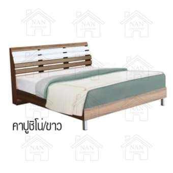 HDfurniture เตียงระแนง 6 ฟุต ผลิตจากไม้ MDFเคลือบผิวPVCหัวเตียงโค้งรับแผ่นหลัง รุ่น B602RL-001-