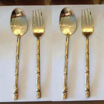 Katathong Brass2home ช้อนส้อม ทองเหลือง ด้ามลายไผ่ 4 คู่