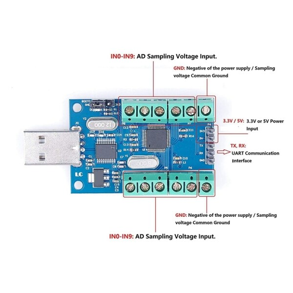 Giá USB 10-Channel 12-Bit AD Data Acquisition Module STM32 UART Communication USB to Serial Chip CH340 ADC Module
