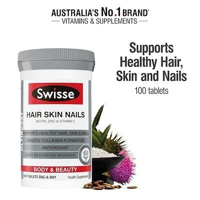 วิตามินบำรุงผิว ผม และเล็บ ให้แข็งแรงและเงางาม Ll Swisse Ultiboost Hair Skin Nails+ 100s.