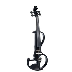 Naomi Violin Full Size 4/4 Solid Wood Electric Violin Basswood Body Ebony Fingerboard Pegs with Ebony Fisheye Accessories Black