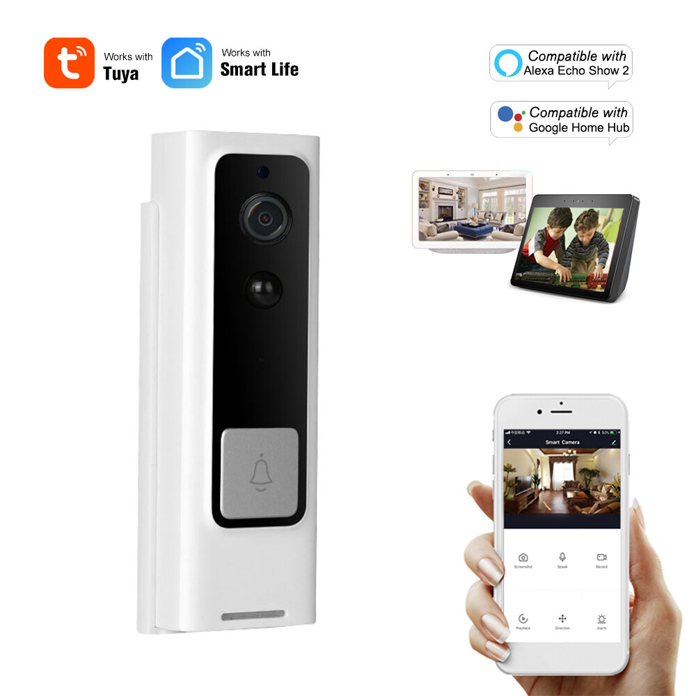 WiFi Smart Security DoorBell HD 1080P Wireless Visual Intercom Recording Video Door Phone PIR Motion Detector Rainproof TuyaSmart APP Remote Home Monitoring Night Vision Compatible with Alexa Echo Show 2 & Google Home Hub Voice Control