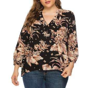 (Losinggripshop)พลัสขนาดผู้หญิงคอวีพิมพ์ลายดอกไม้หน้าสั้นหลังแขนยาวด้านบนเสื้อผ้าคนอ้วน