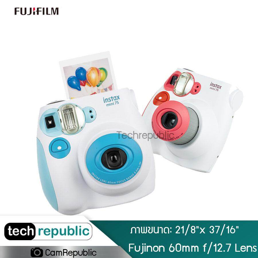 Fujifilm Instax Mini 7s Instant Film Camera With Film กล้อง กล้องฟิล์ม กล้องโพลารอยด์ กล้องถ่ายรูป กล้องอินสแตนท์  Fujinon 60mm F/12.7 Lens เลนส์ กล้อง ถ่ายรูป 2สี Techrepublic.