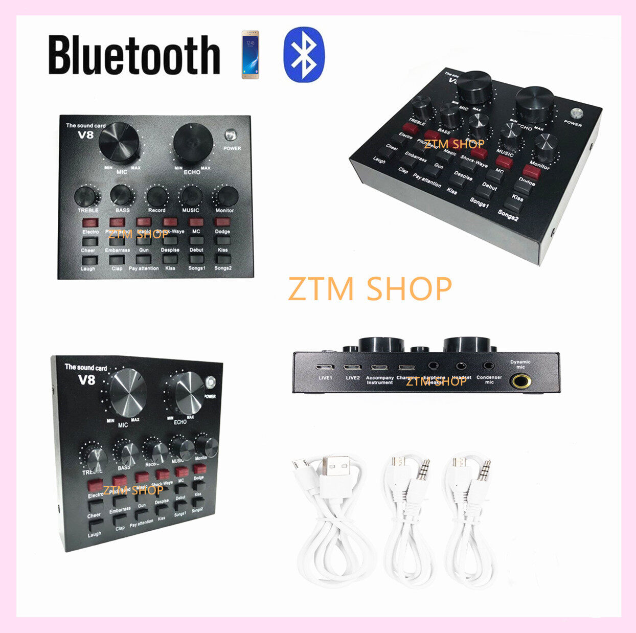 V8 Audio Live Sound Card For Phone Computer Usb Headset Microphone Webcast-(bluetooth).