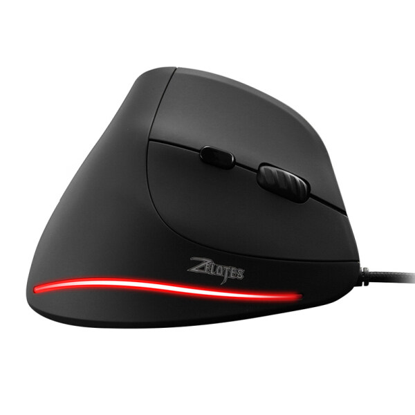 ZELOTES Wired Vertical Mouse Gaming Mouse Ergonomic Wired Mouse 6 Keys LED 3200 DPI USB Computer Mouse Gamer Mice Silent Mause with Backlight for PC Laptop