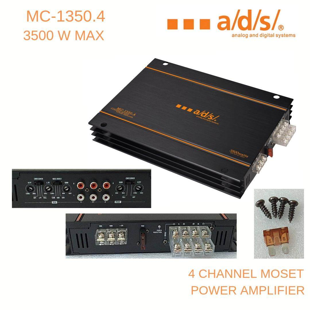 A/d/s/ เพาเวอร์แอมป์ติดรถยนต์รุ่น Mc-1350.4 (4 Channel ขับเสียงกลาง แหลม และซับวูปเฟอร์ กำลังขับ 3500 W มี4 สี เขียว/เงิน/น้ำเงิน By Ads Thailand.
