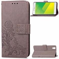 ขาย Card Slot Retro Embossing Clover Flower Pu Leather Wallet Cover Folio Flip Fold Magnetic Closure Lanyard Case Cover For Oppo A37 A37M จีน