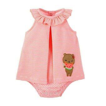 Carter'sชุดเด็กผู้หญิง Bodysuit dress ชุดบอดี้สูทเดรสแขนกุดสีส้มปักลายพี่หมีที่ชายเดรส (สีส้ม)