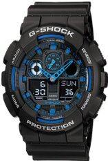 ราคา Casio G Shock นาฬิกาข้อมือผู้ชาย สีดำ น้ำเงิน สายเรซิน รุ่น Ga 100 1A2 ใหม่ ถูก