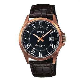 CASIO Gent quartz นาฬิกาข้อมือผู้ชาย สีดำ สายหนัง รุ่น MTP-1376RL-1AVDF