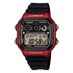 ราคา Casio นาฬิกาข้อมือผู้ชาย สายเรซิ่น สีดำ รุ่น Ae 1300Wh 4A Red Black ราคาถูกที่สุด