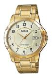 ซื้อ Casio นาฬิกาข้อมือผู้ชาย สีทอง สายสแตนเลส รุ่น Mtp V004G 9Budf หน้าทอง ถูก