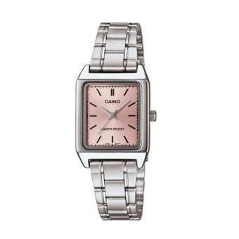 Casio นาฬิกาข้อมือผู้หญิง สีเงิน/หน้าชมพู หน้าปัดสี่เหลี่ยม สายสเตนเลส รุ่น LTP-V007D-4EUDF-