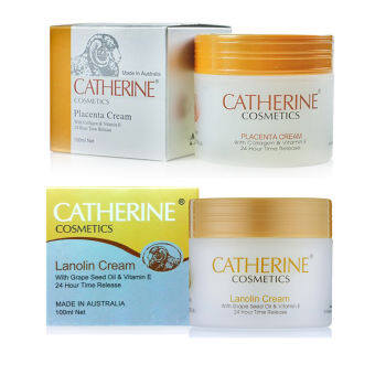 Catherine Cosmetics Placenta รกแกะ 3 in 1 ขนาด 100 มล. + Catherine Lanolin Cream with Grape Seed Oil & vitamin E 100 ml.