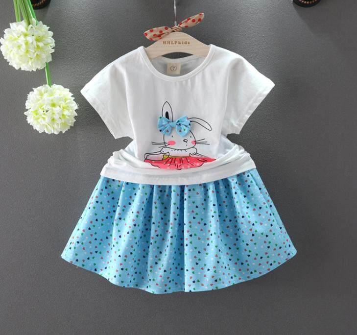 ชุดกระโปรงลายกระต่ายน้อยผูกโบว์สุดน่ารัก Kids Clothes ผ้านุ่มใส่สบาย ไซส์ 70-140 ซม./6 เดือน-10 ปี By Kid Clothes In Thailand.