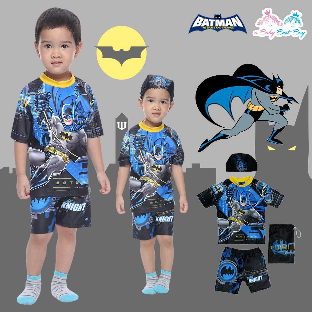 Swimming Wear 2piece for Boy Batman ชุดว่ายน้ำเด็กผู้ชาย เสื้อแขนสั้น กางเกงขาสั้น พร้อมหมวกว่ายน้ำและถุงผ้า