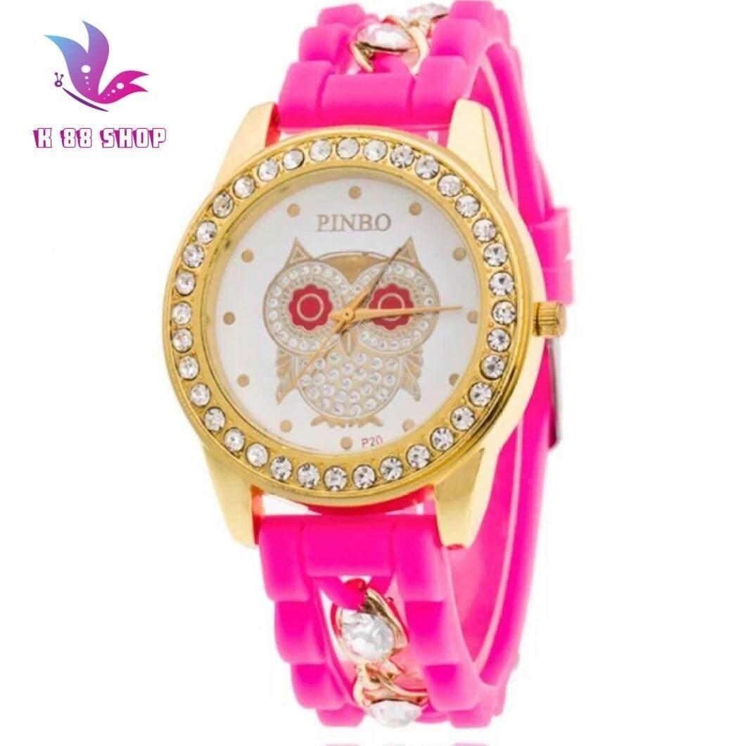 นาฬิกานกฮูก Quartz หญิงยอดนิยม Relogio Luxury Diamondladies นาฬิกาข้อมือผู้หญิงซิลิโคนโซ่นาฬิกาแฟชั่น By Love Shop.