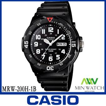 นาฬิกา รุ่น MRW-200H Casio นาฬิกาข้อมือ ผู้ชาย สายเรซินสีดำ รุ่น MRW-200H-1B ( Black )MRW-200Hของแท้100% ประกันศูนย์CASIO1 ปี จากร้าน MIN WATCH