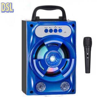 ลำโพง Bluetooth ไร้สาย, ซับวูฟเฟอร์ (รองรับไมโครโฟน, บลูทู ธ , USB, การ์ด TF, วิทยุ) ลำโพง Bluetooth พกพา, ไฟ LED สีสันสดใส ลำโพงบลูทู ธ Bluetooth Speaker ลำโพงบลูทูธ ตระกูลสี สีน้ำเงินพร้อมไมโครโฟน,Blue with microphone
