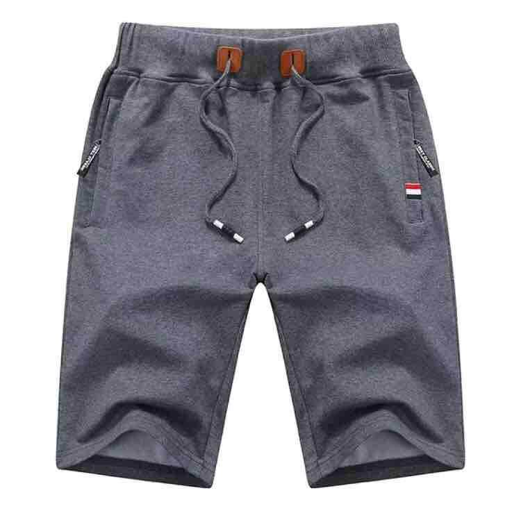Fashion summer middle-aged shorts men's cotton loose sports men's big pants dad clothes zipper pocket shorts