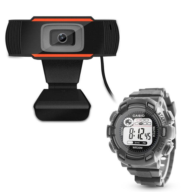 มาพร้อมนาฬิกาสปอร์ต Casio ฟรี / Webcams กล้องเครือข่าย Webcam 1080p หลักสูตรออนไลน์ กล้องคอมพิวเตอร์ การประชุมทางวิดีโอ อุปกรณ์การสอน การเรียนรู.