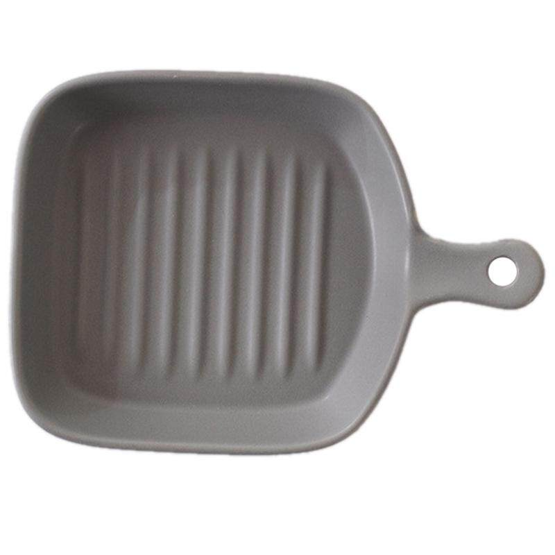 Baking Dish With A Handle Beef Steak Food Fruits Salad Pasta Ceramic Plates Bakeware Tableware Tray Pan Microwave Oven